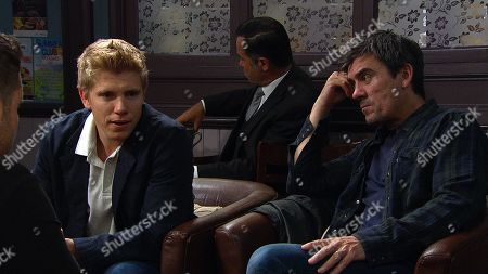 Stock Image of Ep 8579 Wednesday 28th August 2019 Robert Sugden, as played by Ryan Hawley, worries when Cain Dingle, as played by Jeff Hordley, says he won't lie to Aaron Dingle, as played by Danny Miller, about Robert's possible prison sentence.