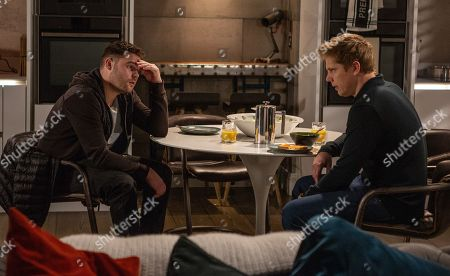 Ep 8580 Thursday 29th August 2019 - 2nd Ep Aaron Dingle, as played by Danny Miller, tries to get answers from Robert Sugden, as played by Ryan Hawley.