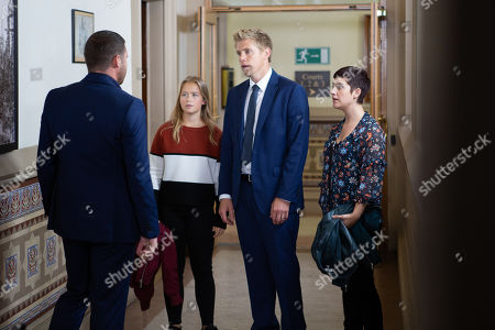 Ep 8586 Thursday 5th September 2019 - 1st Ep It's Robert Sugden's, as played by Ryan Hawley, day in court and the family steel themselves... L - R: Aaron Dingle, as played by Danny Miller, Liv, as played by Isobel Steele, Robert, Victoria Barton, as played by Isobel Hodgins.