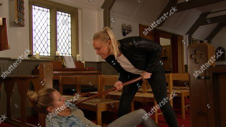 Ep 8589 Monday 9th September 2019 Tracy Metcalfe, as played by Amy Walsh, locks the door to the church trapping Dawn, as played by Olivia Bromley, making accusations - will she regret her actions?