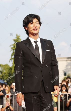 Stock Picture of Haruma Miura poses while arriving for the 2019 annual Seoul International Drama Awards at Kyunghee University in Seoul, South Korea, 28 August 2019. Seoul Drama Awards is an International TV drama festival. A total of 270 works have been submitted from 61 countries around the world.