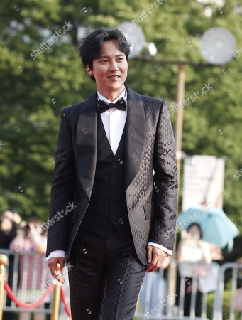 Stock Photo of Kim Nam-gil poses while arriving for the 2019 annual Seoul International Drama Awards at Kyunghee University in Seoul, South Korea, 28 August 2019. Seoul Drama Awards is an International TV drama festival. A total of 270 works have been submitted from 61 countries around the world.