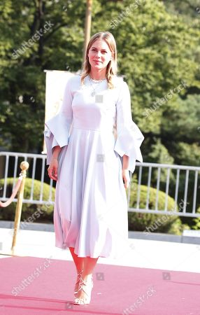 Stock Photo of Alicia von Rittberg poses while arriving for the 2019 annual Seoul International Drama Awards at Kyunghee University in Seoul, South Korea, 28 August 2019. Seoul Drama Awards is an International TV drama festival. A total of 270 works have been submitted from 61 countries around the world.