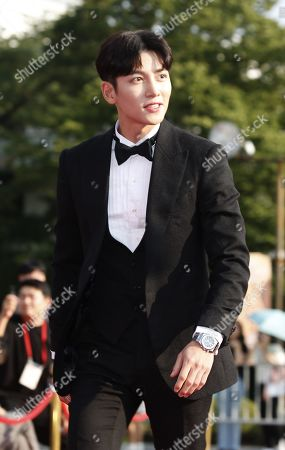 Stock Picture of Ji Chang-wook poses while arriving for the 2019 annual Seoul International Drama Awards at Kyunghee University in Seoul, South Korea, 28 August 2019. Seoul Drama Awards is an International TV drama festival. A total of 270 works have been submitted from 61 countries around the world.