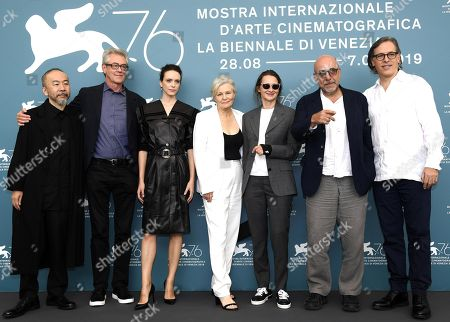 Members of the 'Venezia 76' jury Tsukamoto Shinya, Piers Handling, Stacy Martin, Mary Harron, Lucrecia Martel, Paolo Virzi and Rodrigo Prieto pose during a photocall at 76th annual Venice International Film Festival, in Venice, Italy, 28 August 2019. Mastronardi will host the opening ceremony. The festival runs from 28 August to 07 September.