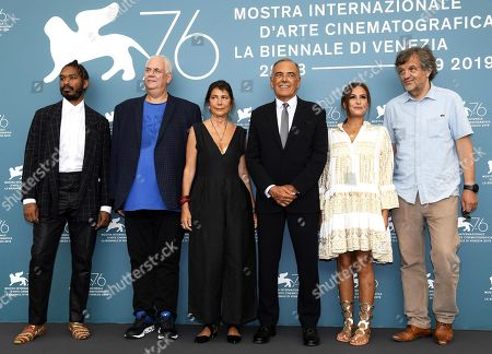 Members of the Venezia Opera Prima 'Luigi De Laurentiis' jury Terence Nance, Michael J. Werner, Antonietta De Lillo, Film Festival Director Alberto Barbera, Hend Sabry and Emir Kusturica during a photocall at 76th annual Venice International Film Festival, in Venice, Italy, 28 August 2019. Mastronardi will host the opening ceremony. The festival runs from 28 August to 07 September.