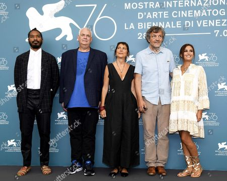 Members of the Venezia Opera Prima 'Luigi De Laurentiis' jury Terence Nance, Michael J. Werner, Antonietta De Lillo, Emir Kusturica and Hend Sabry during a photocall at 76th annual Venice International Film Festival, in Venice, Italy, 28 August 2019. Mastronardi will host the opening ceremony. The festival runs from 28 August to 07 September.