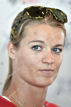 Dutch sprinter Dafne Schippers attends a press conference of the IAAF Diamond League international athletics meeting in Zurich, Switzerland, 28 August 2019. The meeting takes place at the Letzigrund stadium on 29 August 2019.