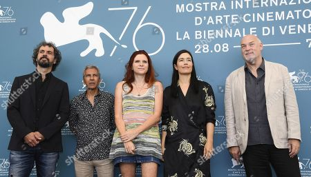Stock Photo of Members of the 'Orizzonti' jury Alvaro Brechner, Rachid Bouchareb, Susanna Nicchiarelli, Eva Sangiorgi and Mark Adams, pose during a photocall during 76th annual Venice International Film Festival, in Venice, Italy, 28 August 2019. Mastronardi will host the opening ceremony. The festival runs from 28 August to 07 September.
