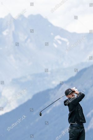 US musician Justin Timberlake in action during the pro-am golf tournament in Crans-Montana, Switzerland, 28 August 2019.