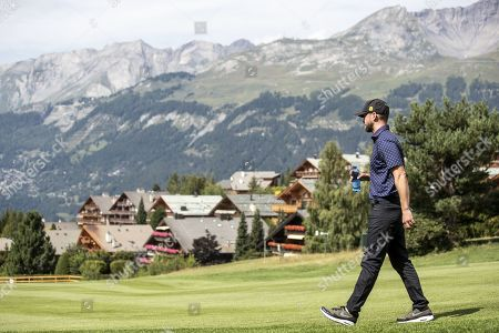 Stock Picture of US musician Justin Timberlake in action during the pro-am golf tournament in Crans-Montana, Switzerland, 28 August 2019.