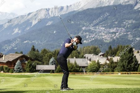 Stock Photo of US musician Justin Timberlake in action during the pro-am golf tournament in Crans-Montana, Switzerland, 28 August 2019.