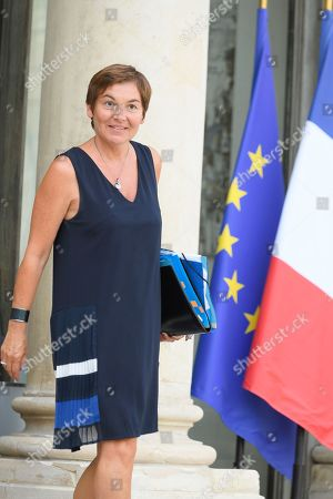 French Overseas Minister Annick Girardin leaves after the weekly cabinet meeting at Elysee Palace.