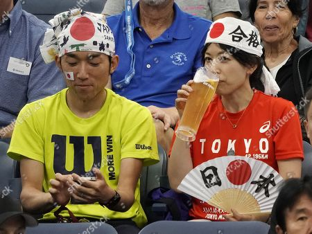 Japanese fans at Kei Nishikori of Japan plays Bradley Klahn of the US during their match on the third day of the US Open Tennis Championships the USTA National Tennis Center in Flushing Meadows, New York, USA, 28 August 2019. The US Open runs from 26 August through 08 September.