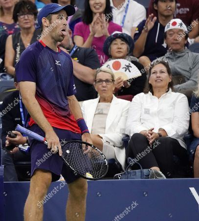 Bradley Klahn of the US reacts as he plays Kei Nishikori of Japan during their match on the third day of the US Open Tennis Championships the USTA National Tennis Center in Flushing Meadows, New York, USA, 28 August 2019. The US Open runs from 26 August through 08 September.