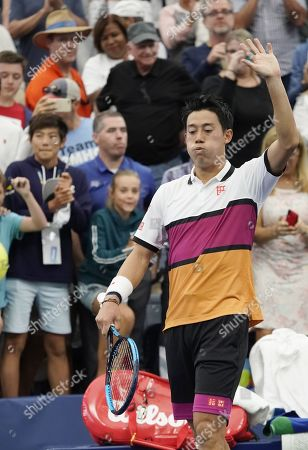 Kei Nishikori of Japan after defeating Bradley Klahn of the US during their match on the third day of the US Open Tennis Championships the USTA National Tennis Center in Flushing Meadows, New York, USA, 28 August 2019. The US Open runs from 26 August through 08 September.