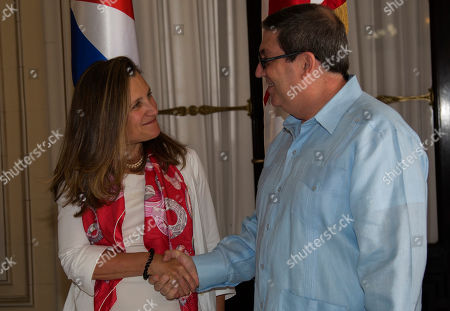 Stock Picture of Minister of Foreign Affairs of Canada Chrystia Freeland, left, shakes hands with her counterpart Bruno Rodriguez, in Havana, Cuba
