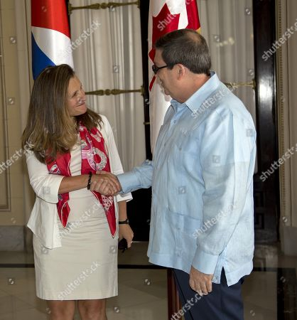 Cuban Foreign Minister, Bruno Rodriguez Parrilla (R), talks with his Canadian counterpart, Chrystia Freeland (L), at the headquarters of the Ministry of Foreign Affairs of Cuba, in Havana, Cuba, 28 August 2019. Its the third time Freeland and Rodriguez meet since May 2019 to discuss the crisis in Venezuela.