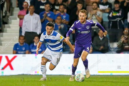 Portsmouth midfielder Tom Naylor (4) during the EFL Cup match between Queens Park Rangers and Portsmouth at the Kiyan Prince Foundation Stadium, London
