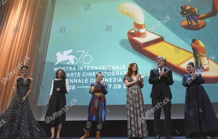 Alessandra Mastronardi, President of the 'Venezia 76' jury Argentinian filmmaker Lucrecia Martel, President of the Venice Virtual Reality jury, Laurie Anderson, President of the Orizzonti jury, Susanna Nicchiarelli, President of the Venezia Opera Prima 'Luigi De Laurentiis' jury Serbian film director Emir Kusturica and Venezia Classici, Costanza Quatriglio on stage during the opening ceremony and screening of 'La Verite'' at the 76th annual Venice International Film Festival, in Venice, Italy, 28 August 2019. The festival runs from 28 August to 07 September.