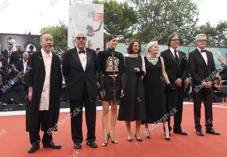 Stock Image of Members of the 'Venezia 76' jury Shinya Tsukamoto, Piers Handling, Stacy Martin, Mary Harron, Jury President Lucrecia Martel, Paolo Virzì and Rodrigo Prieto, arrive for the opening ceremony and screening of 'La Verite'' at the 76th annual Venice International Film Festival, in Venice, Italy, 28 August 2019. The festival runs from 28 August to 07 September.