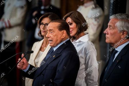 Silvio Berlusconi, Anna Maria Bernini, Antonio Tajani and Mariastella Gelmini during the press conference at the Quirinale of the Parliamentary Group 'Forza Italia' after consultation with the President of the Republic Sergio Mattarella