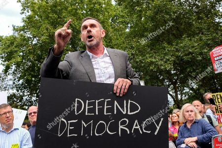 Stock Photo of Paul Mason. Protesters outside Parliament against the proroguing of parliament by Prime Minister Boris Johnson.
