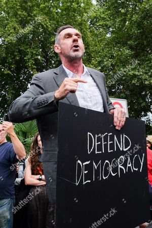 Stock Picture of Paul Mason. Protesters outside Parliament against the proroguing of parliament by Prime Minister Boris Johnson.