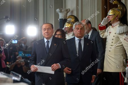 Silvio Berlusconi and Antonio Tajani during the press conference at the Quirinale of the Parliamentary Group 'Forza Italia' after consultation with the President of the Republic Sergio Mattarella