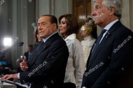 Silvio Berlusconi, Anna Maria Bernini and Antonio Tajani during the press conference at the Quirinale of the Parliamentary Group 'Forza Italia' after consultation with the President of the Republic Sergio Mattarella