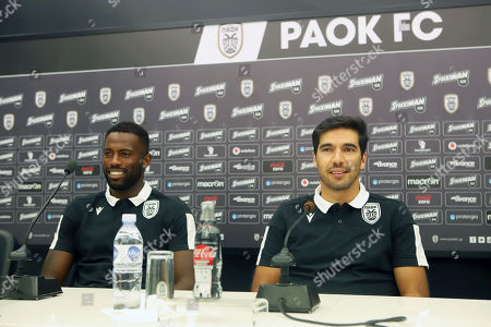 PAOK's head coach Abel Ferreira (R) and Fernando Varela (L) attend a press conference in Thessaloniki, northern Greece, 28 August 2019. PAOK Thessaloniki will face Slovan Bratislava in their UEFA Europa League playoff, second leg soccer match on 29 August 2019.