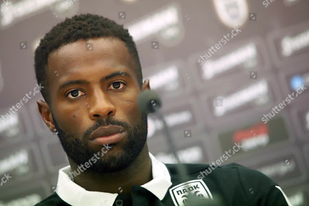 PAOK's Fernando Varela attends a press conference in Thessaloniki, northern Greece, 28 August 2019. PAOK Thessaloniki will face Slovan Bratislava in their UEFA Europa League playoff, second leg soccer match on 29 August 2019.