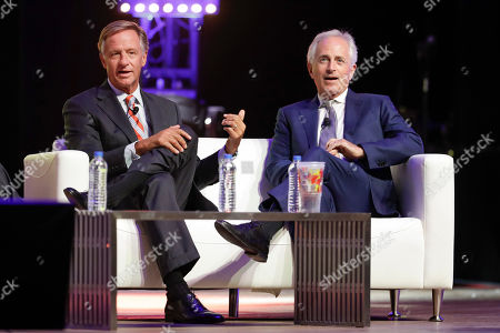 Stock Image of Bill Haslam, Bob Corker. Former Governor Bill Haslam, left, and former Senator Bob Corker take part in the 36/86 Entrepreneurship Festival, in Nashville, Tenn