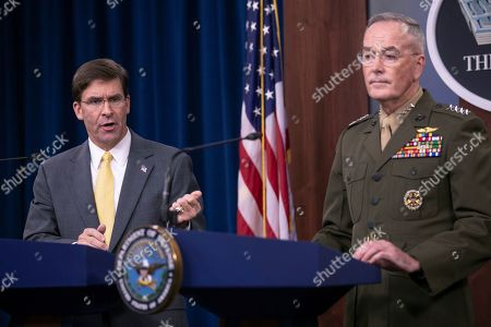 Joseph Dunford, Mark Esper. Secretary of Defense Mark Esper and Joint Chiefs Chairman Gen. Joseph Dunford speak to reporters during a briefing at the Pentagon
