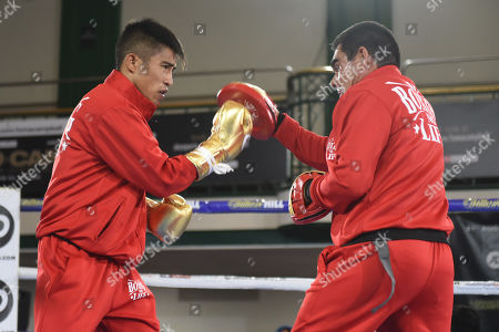 Julio Cesar Martinez Aguilar during a Public Workout at York Hall on 28th August 2019