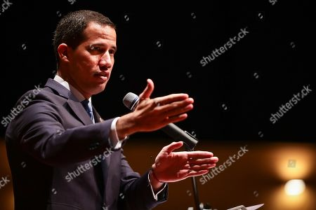 The President of the National Assembly (AN) of Venezuela Juan Guaido participates in the act of the Country Infrastructure Plan, in the Paraninfo of the Metropolitan University of Caracas, Venezuela, 28 August 2019. Guaido announced on 28 August the creation of a 'government center' that will coordinate all the representatives he has appointed in his administration and which will be led by opposition leader Leopoldo Lopez.