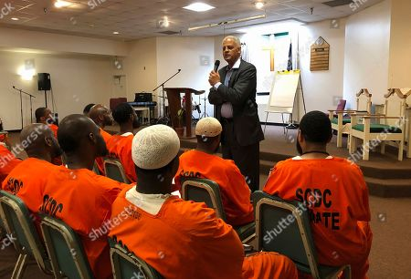 Educator, author and businessman Stedman Graham speaks to inmates at Lee Correctional Institution in Bishopville, S.C. on . Graham, the longtime partner of Oprah Winfrey, spoke about leadership and finding your purpose at a special Academy of Hope program at the prison where seven inmates were killed in an April 2018 riot