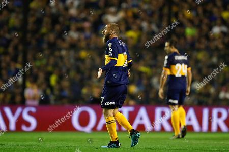 Daniele De Rossi of Argentina's Boca Juniors reacts during a quarter final second leg Copa Libertadores soccer match against Ecuador's Liga Deportiva Universitaria in Buenos Aires, Argentina