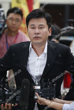 Yang Hyun-suk, former chief producer and founder of YG Entertainment, speaks to the media upon his arrival at the Seoul Metropolitan Police Agency in Seoul, South Korea, 29 August 2019. Yang and Seungri, a former member of boy band BIGBANG, will be investigated by police on charges of illegal gambling abroad. They are suspected of gambling up to tens of millions of won at a time at casinos, including the MGM Hotel and Casino in Las Vegas. Gambling is illegal in Korea.