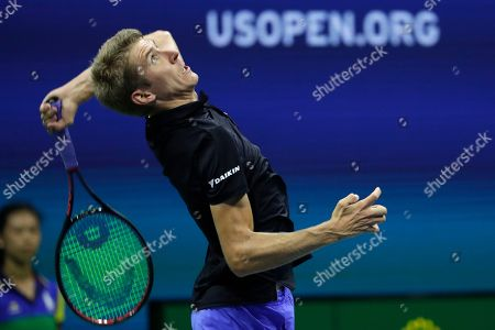 Cedrik-Marcel Stebe, of Germany, serves to Marin Cilic, of Croatia, during the second round of the U.S. Open tennis tournament, in New York