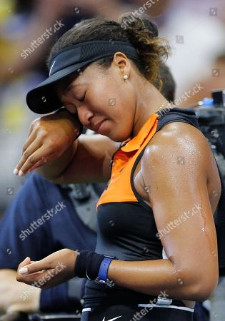 Stock Image of Mary Joe Fernandez interviews an emotional Naomi Osaka of Japan following her straight set win over Cori Gauff of USA