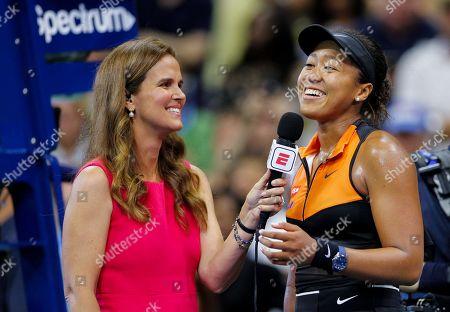 Stock Picture of Mary Joe Fernandez interviews Naomi Osaka of Japan following her straight set win over Cori Gauff of USA