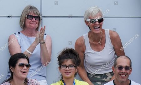Judy Murray reacts in the stands after Jamie Murray of Great Britain hits a backhand over-shoulder smash winner during play in the Men?s Doubles.