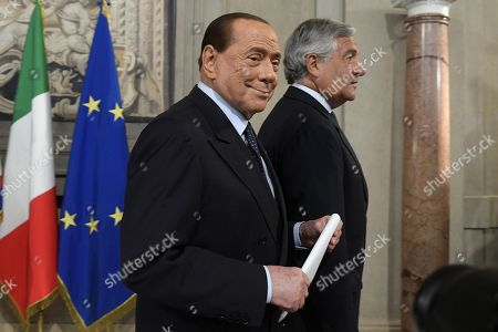 Silvio Berlusconi and Antonio Tajani during the consultations with the President of the Republic for the formation of the new government