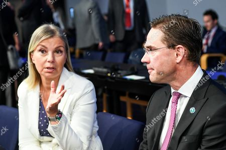 European Commissioner for Internal Market and Services Elzbieta Bienkowska of Poland (L) and European Commission Vice-President for Jobs, Growth, Investment and Competitiveness Jyrki Katainen (R) attend an Informal Meeting of EU Defence Ministers in the Finlandia Hall in Helsinki, Finland, 29 August 2019.