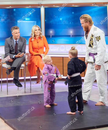 Richard Bacon, Charlotte Hawkins, Blossom Crosby and Autumn Crosby with dad Tom 'The Viking' Crosby