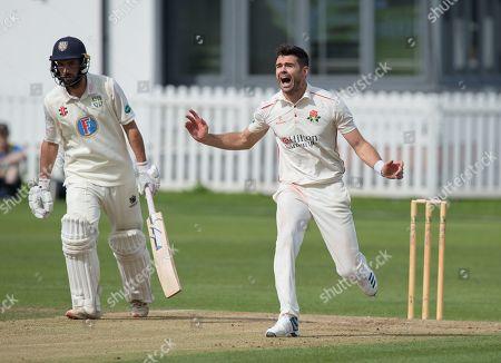 James Anderson bowling for Lancashire against Durham
