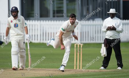 James Anderson bowling for Lancashire