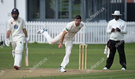 James Anderson bowls for Lancashire