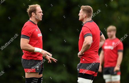 Alun Wyn Jones and Bradley Davies during training.